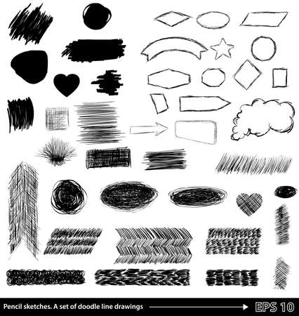 line drawings: Pencil sketches.Hand drawn scribble shapes. A set of doodle line drawings.