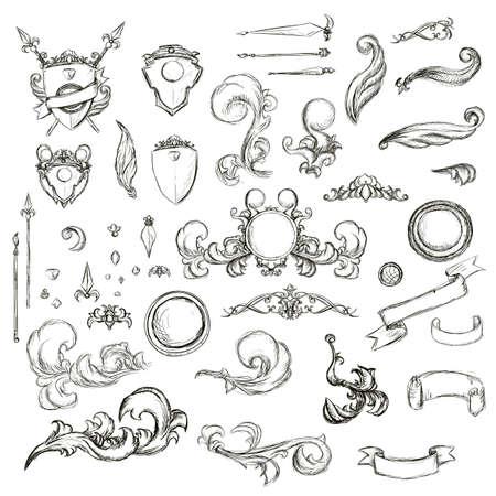 Vintage set decor elements for menu. Elegance old hand drawing set. Sketch ornate swirl leaves, label, acanthus elements, shield and decor elements . Sketch for writer, wedding or restaurant.