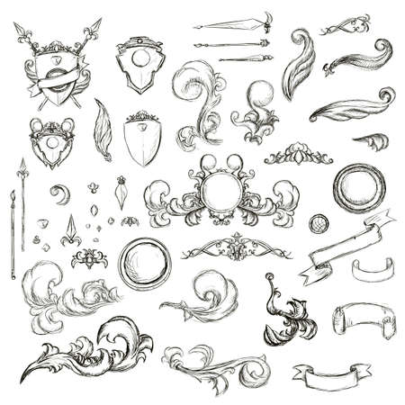 aristocracy: Vintage set decor elements for menu. Elegance old hand drawing set. Sketch ornate swirl leaves, label, acanthus elements, shield and decor elements . Sketch for writer, wedding or restaurant.