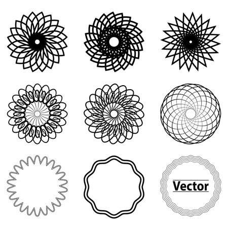 Set fractal and swirl shape element. Vintage monochrome different objects.  decorative sample. diaphragm