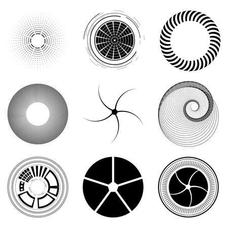 diaframma: Set fractal and swirl shape element. Vintage monochrome different objects. decorative sample. diaphragm Vettoriali