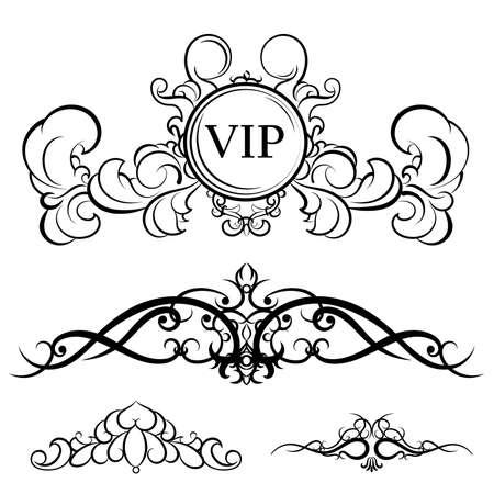writer: Vintage set decor elements for menu. Elegance old hand drawing set. Ornate swirl leaves, acanthus elements, decor elements . For writer, wedding or restaurant. Illustration