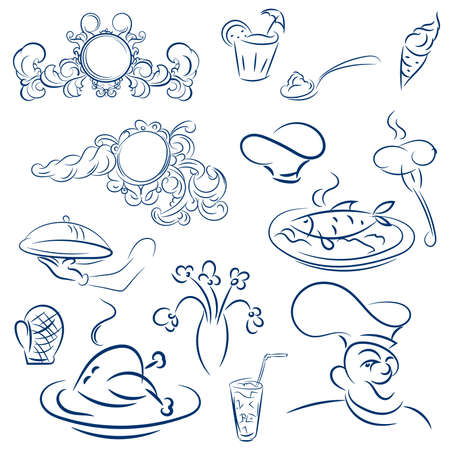 acanthus: Design elements for design menu restaurant or cafe. Vector decorations with acanthus leaves. Cook, chef hat, sausage on a fork, grilled chicken and fish. sketch Illustration