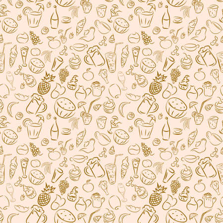 light brown: Texture seamless. Doodles cocktails and desserts, fruits,coffee,alcohol, bar, drink. Texture for bars, cafe or restaurant in sketch. Vector ice cream, juice, tea and beer. Light brown color