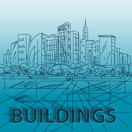 building sketch: Sketch houses and building. Minimalism contours in vector. Blue composition Illustration