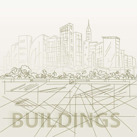 building sketch: Sketch houses and building. Minimalism contours in vector. Yellow composition Illustration