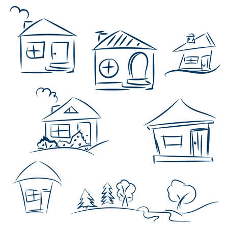 dark blue: Doodle hand drawn houses. Pencil vector sketch. Dark blue houses in white background