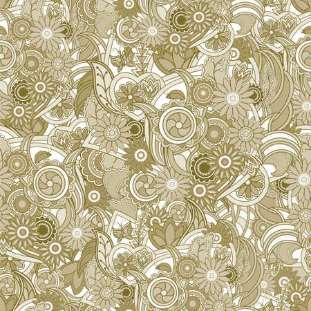 tan: Floral yellow background. Seamless texture with flowers and greenery. Tan and yellow floral seamless texture, waves. Elegance  background, vector.