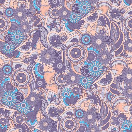 colores pasteles: Fondo floral p�rpura y azul. Textura incons�til con las flores y vegetaci�n. Flores en el contorno. Elegancia p�rpura, fondo azul y darksalmon, vector.