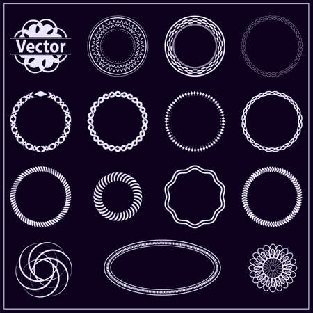 dark purple: Set fractal and swirl shape element. Vintage monochrome different objects. Vector decorative sample. Diaphragm, border, outline white color in dark purple background