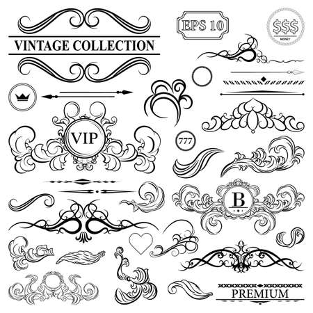 photo album: Vintage set decor elements. Elegance old hand drawing set. Outline ornate swirl leaves, label, acanthus, decor elements in vector. Big collection  borders for book, photo album or restaurant menu.