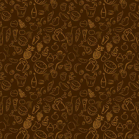 ice tea: Texture seamless. Doodles cocktails and desserts, fruits,coffee,alcohol, bar, drink. Texture for bars, cafe or restaurant in sketch. Vector ice cream, juice, tea and beer. Orange on brown background