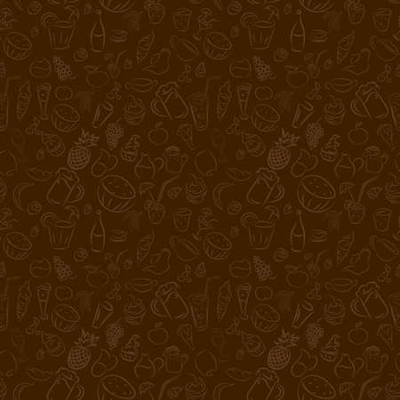 light brown: Texture seamless. Doodles cocktails and desserts, fruits,coffee,alcohol, bar, drink. Texture for bars, cafe or restaurant in sketch. Vector ice cream, juice, tea and beer. Light brown and dark brown color