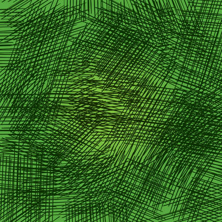 Pencil strokes on the green background. Grid and random strokes in vector. Abstract Cover