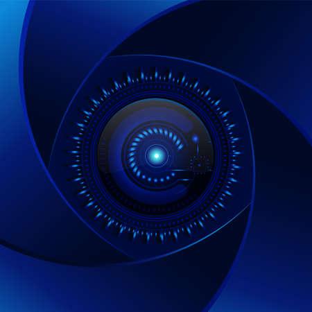 Technologie blauwe achtergrond. Aperture cyaan lens. Modern design vector. Electronics foto element. Cyan camera Stock Illustratie