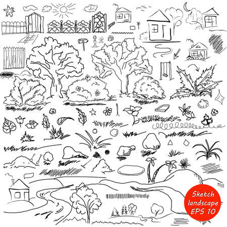 hand with pencil: Elements of landscape in outline. Doodle sketch outdoor elements. Tree, grass, nature, bushes, leaves, flowers, houses pencil drawing in vector