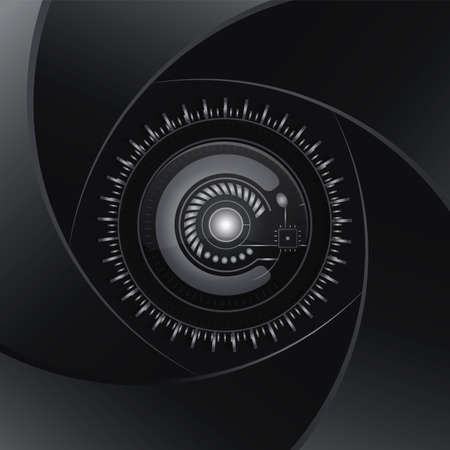 shaddow: Technology  black background. Aperture dark lens. Modern design vector. Electronics photo element. Black and white camera