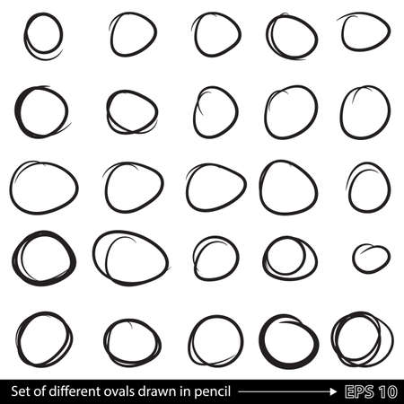 line drawings: Pencil doodle different circles. A set of line drawings. Vector black outline shape