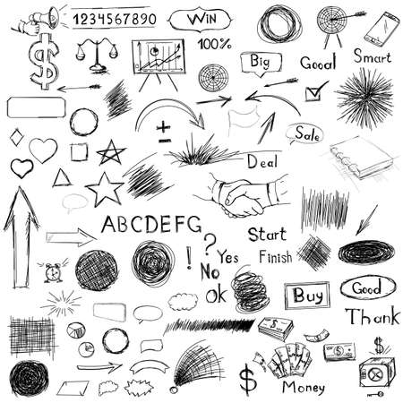poign�es de main: Big set of business components. Black and white sketch hatch, handshakes, goals, weights, money, arrow, box, notebook, horn and other characters in a vector.