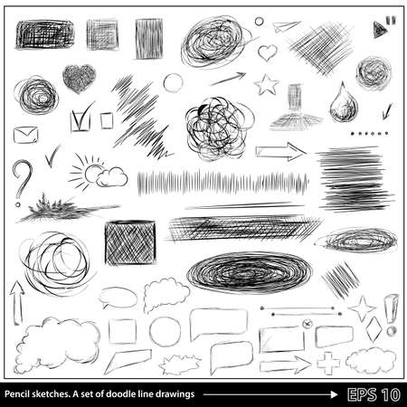 draw: Pencil sketches.Hand drawn scribble shapes A set of doodle line drawings. Vector design elements