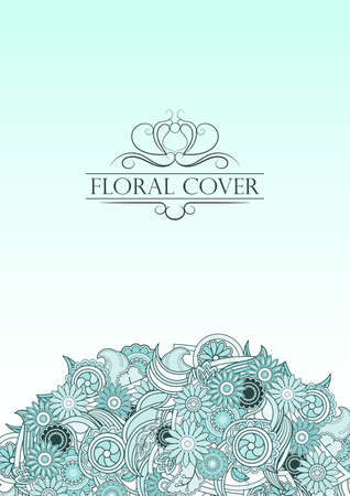 light blue: Light blue floral cover with vintage decorative text. Pastel blue template for cover catalog, brochure or postcard. Abstract floral composition in vector.