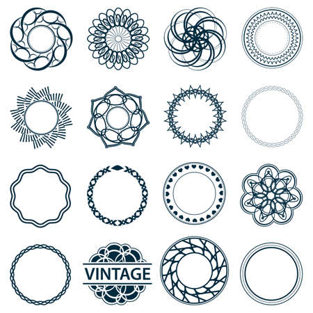 diaphragm: Set fractal and swirl shape element. Vintage monochrome different objects. Vector decorative sample. Diaphragm, border, outline blue color in white background