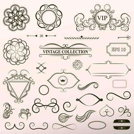 whorl: Vintage set decor elements. Elegance old hand drawing set. Outline ornate swirl leaves, acanthus, label, decor elements in vector. Big collection  borders for book, photo album or restaurant menu.