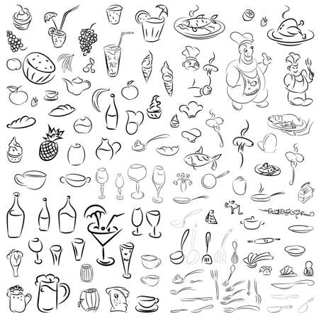 wine and food: Vector set of crockery, cutlery, wine glasses, fruit, desserts, food and drink. Sketch for restaurants, cafes and bars.Doodles cocktails and desserts, fruits,coffee,alcohol, bar, drink icons.