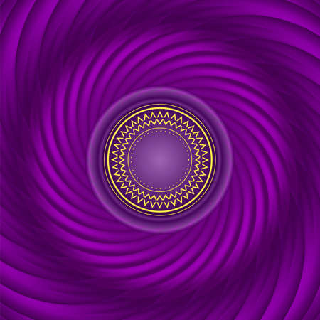 silk fabric: Swirl purple background. Soft vector gradient and blend. Radial motion. As a silk fabric. With ornament in center