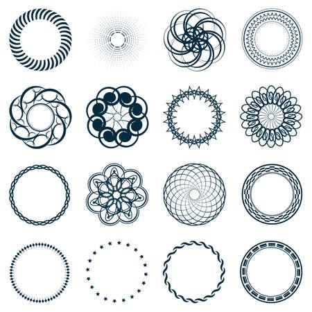 outline blue: Set fractal and swirl shape element. Vintage monochrome different objects. Vector decorative sample. Diaphragm, border, outline blue color in white background