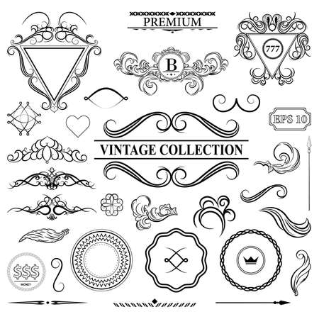 writer: Vintage set decor elements for menu. Elegance old hand drawing set. Outline ornate swirl leaves, label, acanthus elements, shield and decor elements in vector. Signs for writer, wedding or restaurant.