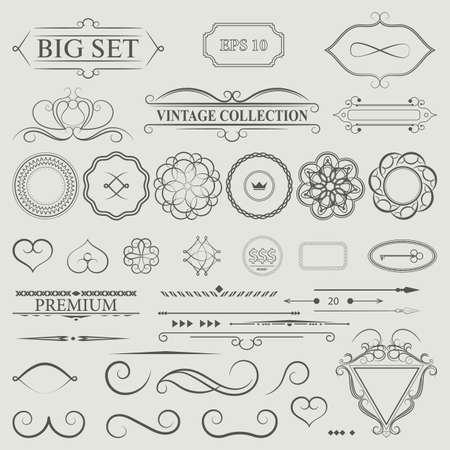 swirls: Vintage set decor elements. Elegance old hand drawing set. Outline ornate swirl leaves, acanthus, label, decor elements in vector. Big collection  borders for book, photo album or restaurant menu.