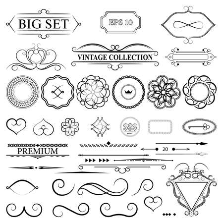 Vintage set decor elements for menu. Elegance old hand drawing set. Outline ornate swirl leaves, label, acanthus elements, shield and decor elements in vector. Sketch for writer, wedding or restaurant.