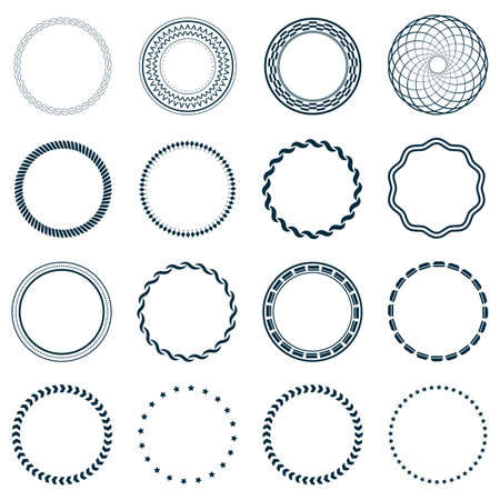 swirl border: Set fractal and swirl shape element. Vintage monochrome different objects. Vector decorative sample. Diaphragm, border, outline blue color in white background