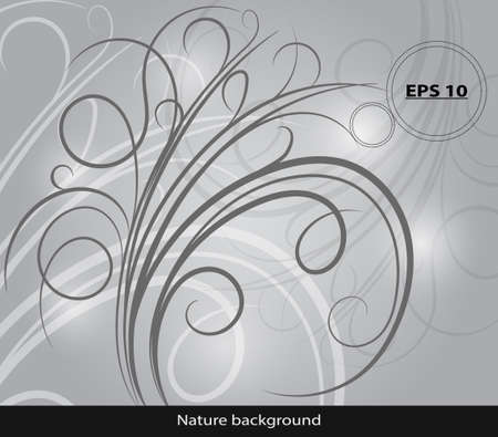 grayscale: Grayscale nature line. Abstract vector background