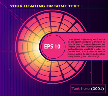 glow in the dark: Abstract dark purple gradient background,pink round disc of particles, glow. Vector background with text