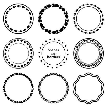 marcos redondos: Establecer fractal y agitar elemento de forma. Monocromo Vintage diferentes objetos. Vector de la muestra decorativa. Diafragma, frontera, exposición de color azul en el fondo blanco
