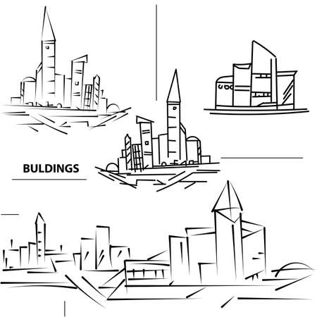building sketch: Set buildings citys. Sketch houses and building. Minimalism contours in vector. Black and white