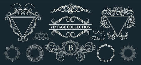 aristocracy: Vintage set decor elements for menu. Elegance old hand drawing set. Outline ornate swirl leaves, label, acanthus elements, shield and decor elements in vector. Signs for writer, wedding or restaurant.