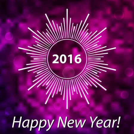 soft colors: Happy New Year 2016 modern cover. Snowflake on blurred bokeh background. Purple and pink soft colors