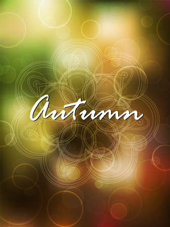 graphic backgrounds: Autumn time, day. Green and orange blurred background with bokeh. Shiny day