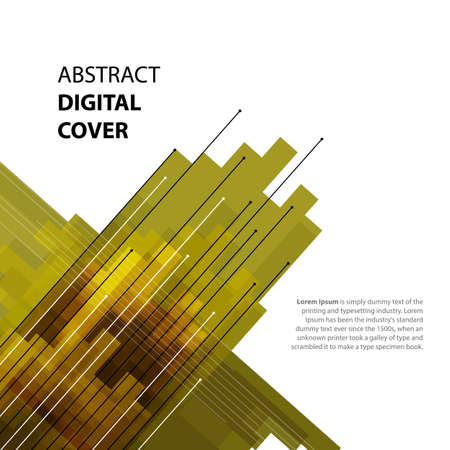light brown: Abstract technology contour objects. Financial business presentation. Light futuristic concept, digital light brown, orange and yellow green colors. Vector modern background