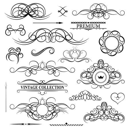 aristocracy: Vintage set decor elements for menu. Elegance old hand drawing set. Outline ornate swirl leaves, label, acanthus elements, shield and decor elements in vector. Sketch for writer, wedding or restaurant.