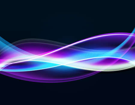 yellow line: Wavy glowing with light blue blend on a black background. Like smooth neon or swirl smoke. Energy and magic vector concept