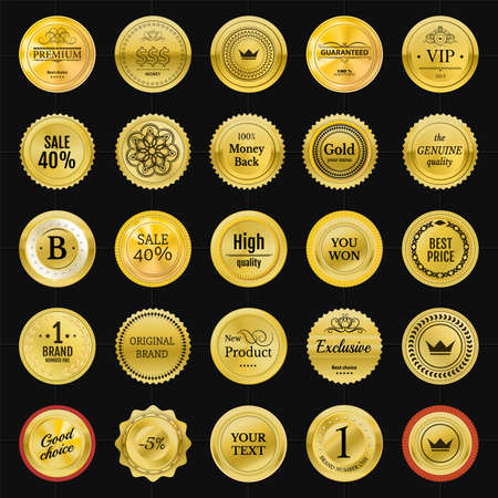 onlineshop: Collection gold labels for promo seals. Can be use for website, online-shop, design certificate. Quality stickers round. Vector retro objects Illustration