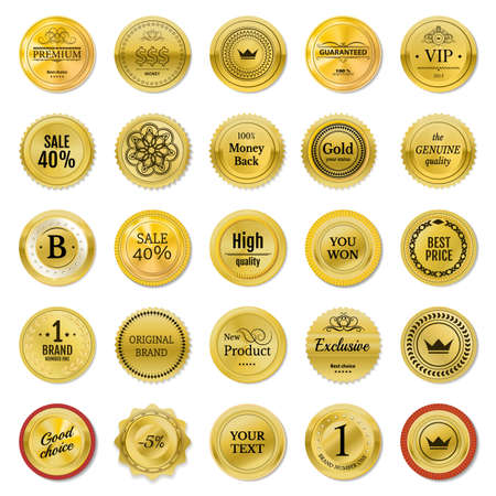 onlineshop: Collection gold labels for promo seals. Can be use for website, online-shop, design certificate. Quality stickers round. Vector retro objects on white background