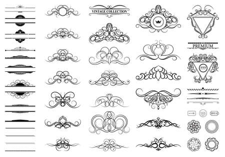 Vintage set decor elements. Decoration for logo, wedding album or restaurant menu. Elegance old hand drawing set. Ornate swirl leaves, label, curved lines and decor elements in vector.