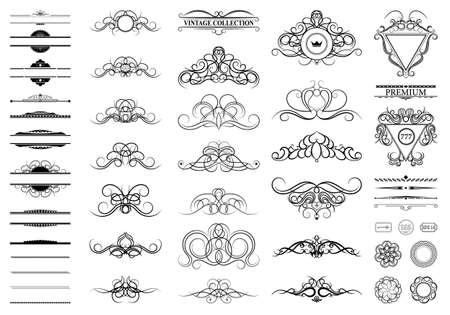 lines: Vintage set decor elements. Decoration for logo, wedding album or restaurant menu. Elegance old hand drawing set. Ornate swirl leaves, label, curved lines and decor elements in vector.