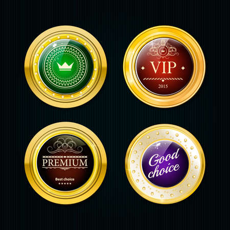 Glossy and gold labels . Colored stones set in gold. Green red and blue stones. Vector labels with text on black background Illustration