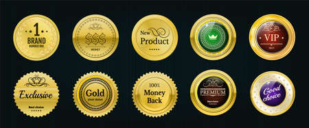 onlineshop: Collection gold labels for promo seals. Can be use for website, online-shop, design certificate. Quality stickers round. Vector retro objects with glass